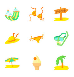 trip to sea icons set cartoon style vector image