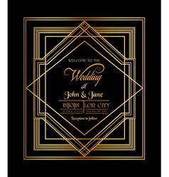 Wedding invitation card - art deco gatsstyle vector