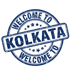 Welcome to kolkata blue round vintage stamp vector