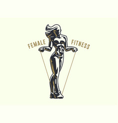 woman fitness emblem vector image