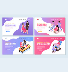 Women health isometric horizontal banners vector