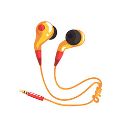 Yellow earphones or earbuds music technology vector