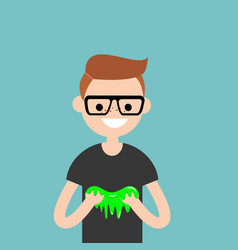 Young character playing with a slime flat vector