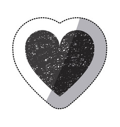 black sticker silhouette of icon heart hand drawn vector image vector image