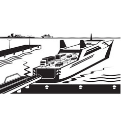 ferry boat docked in port vector image vector image