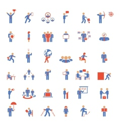 Large set of businessmen icons in different poses vector image vector image