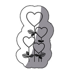 monochrome sticker silhouette with floral branch vector image vector image