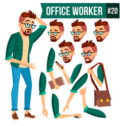 office worker face emotions gestures vector image vector image
