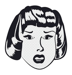 Sad woman face with open mouth vector