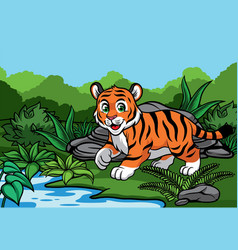 young tiger in the jungle vector image vector image