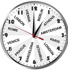Clock with cities from Europe vector image vector image
