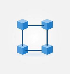 flat blockchain blue icon vector image vector image