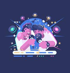 friends sing in karaoke club vector image