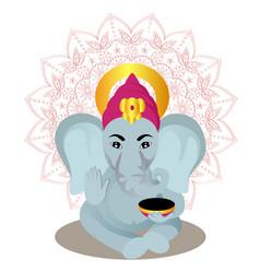 ganesha cartoon on mandala background vector image