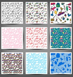Seamless pattern drawn in a childlike style Set vector image vector image