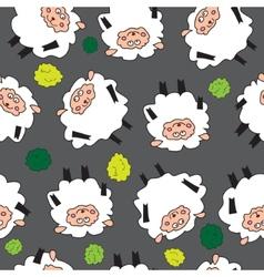 Sheep and shrubs Seamless pattern vector image vector image