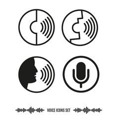 voice recognition icons set biometrics vector image