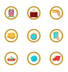 world delivery icons set cartoon style vector image