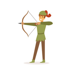 archer aiming with bow european medieval vector image