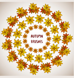 autumn decoration flowers leaves frame set vector image