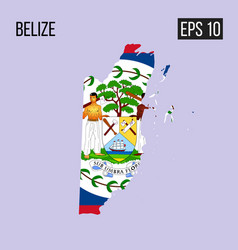 belize map border with flag eps10 vector image