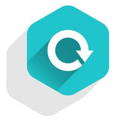 flat arrow sign reload icon hexagon button vector image