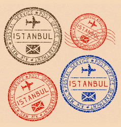 istanbul mail stamps collection faded colored vector image