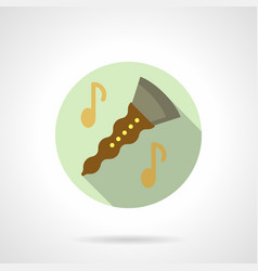 music lessons clarinet flat round icon vector image vector image