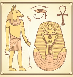Sketch Egyptian set in vintage style vector image vector image