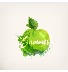 Watercolor apple with lettering vector image vector image