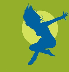 jumping woman silhouette vector image vector image