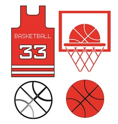 Red Basketball Objects vector image