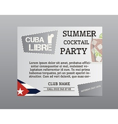 Summer cocktail party poster layout template with vector image
