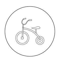 tricycle icon in outline style isolated on white vector image