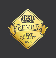 100 quality premium exclusive choice golden label vector image