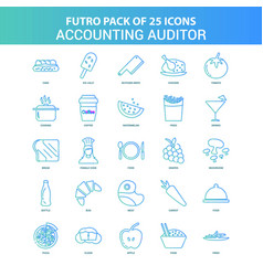 25 green and blue futuro accounting auditor icon vector