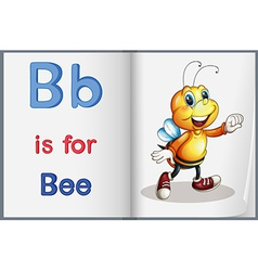 A picture of a bee on a book vector image