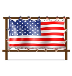 A wooden frame with the american flag vector