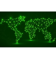 Abstract polygonal world map with glowing dots and vector image