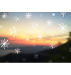 Abstract snowflakes on blurred sunset vector