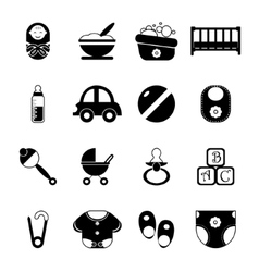 Bachildhood isolated silhouette icons symbols vector