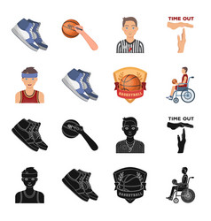 basketball and attributes blackcartoon icons in vector image