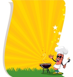 bbq poster template vector image