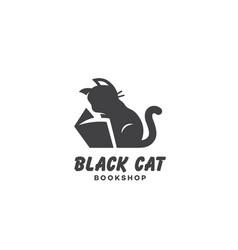 Black cat bookshop logo vector