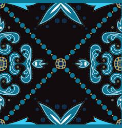 Blue and gold retro islam ornament vector
