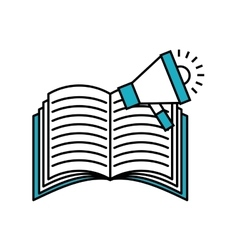 Book with megaphone flat icon vector