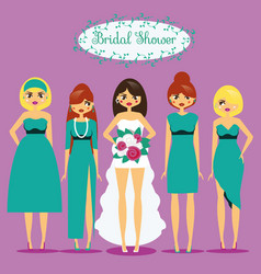 Bride with bridesmaids woman in fashionable vector