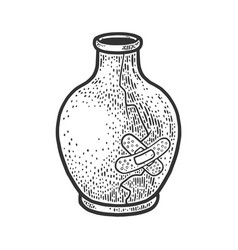 Broken vase repaired medical plaster sketch vector