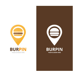burger and map pointer logo combination vector image
