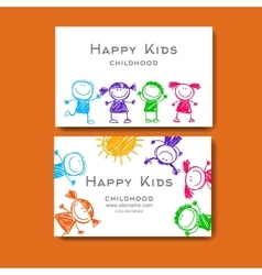 business card with a picture of children vector - Kids Business Cards